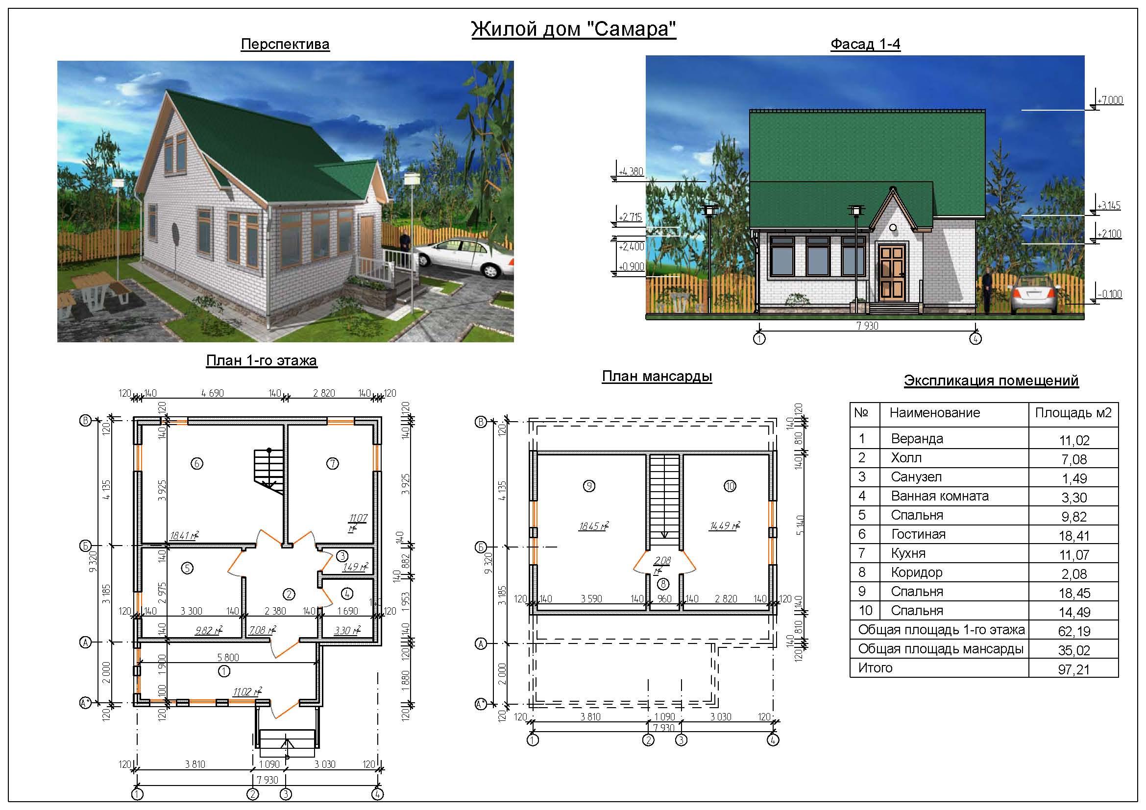 Фото и планы домов с мансардой